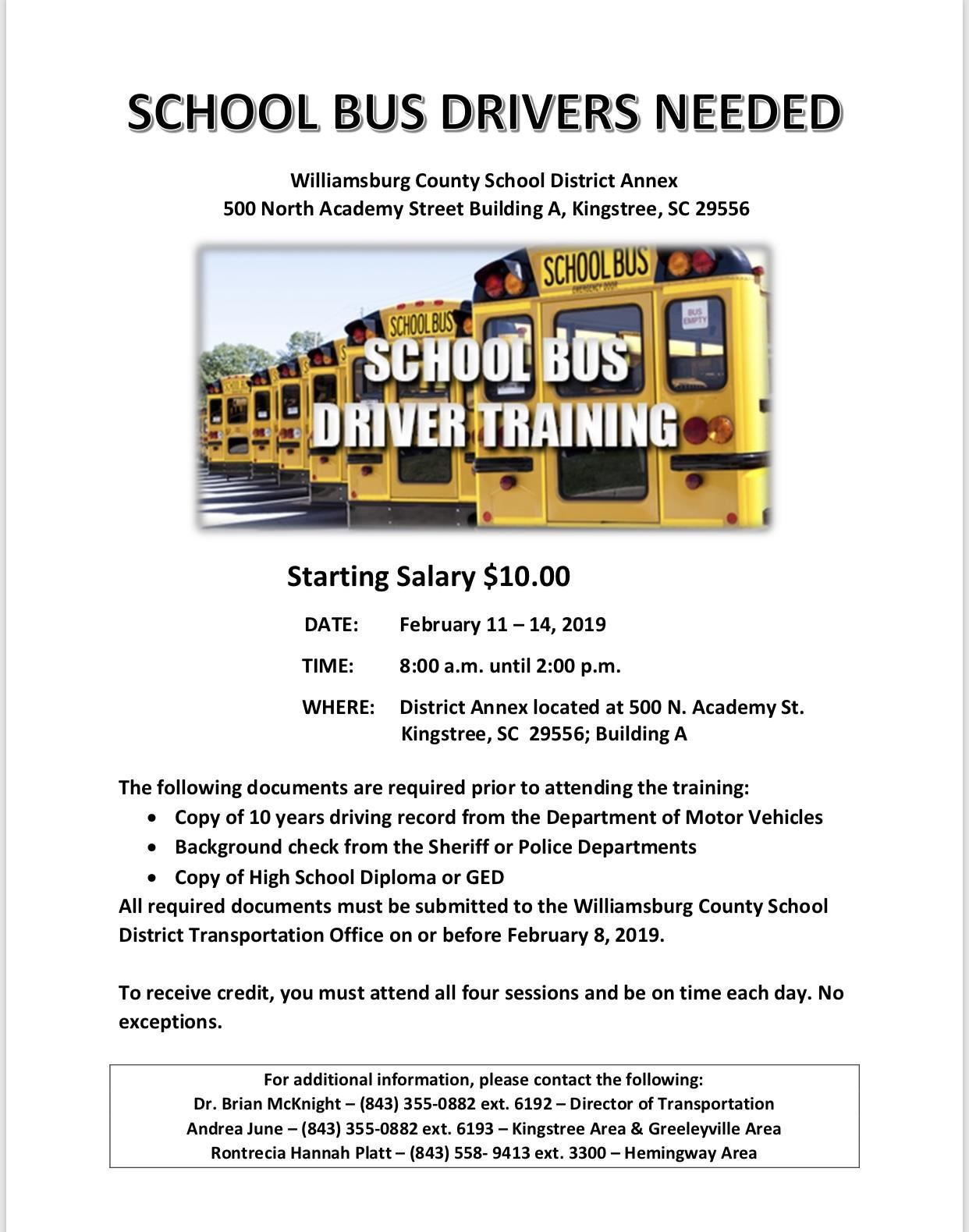School Bus Driver Training Announcement