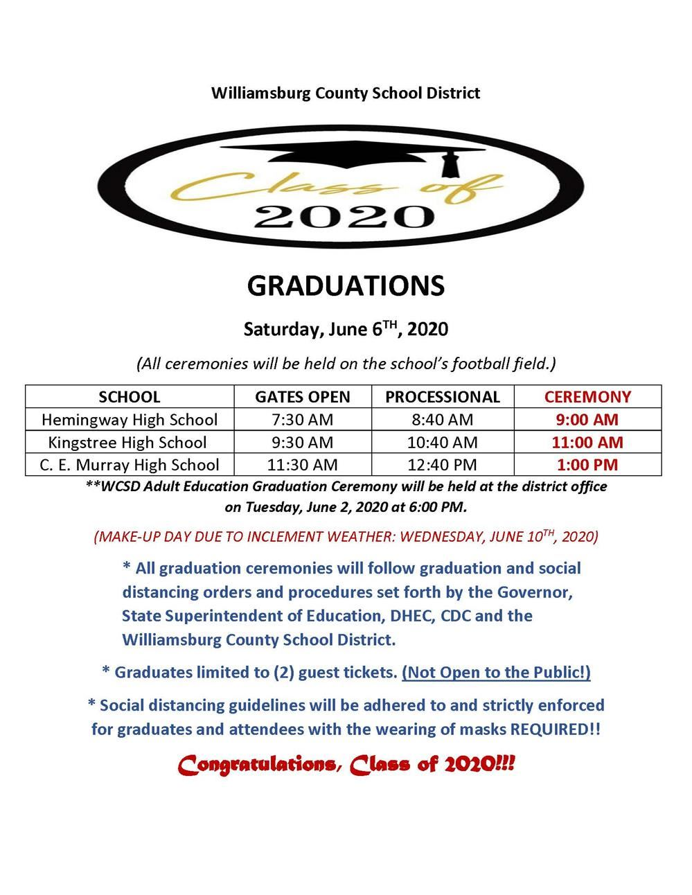 2020 Graduation Ceremonies & Guidelines
