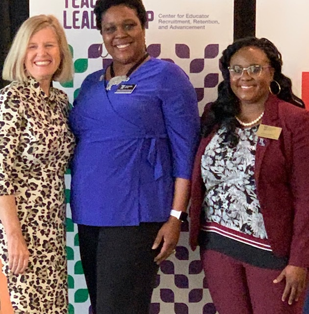 Our District Teacher of the Year, Mrs. Kimily Brown, with State Superintendent Molly Spearman and State Teacher of the Year Ms. Jefferson