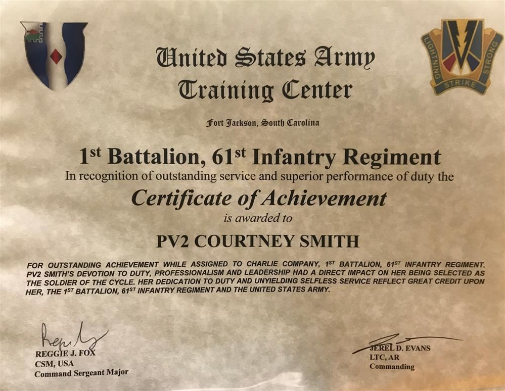 Former Student Recognized by US Army
